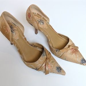 SCHUTZ Heels RARE Style Leather Floral Tan Shoes 8